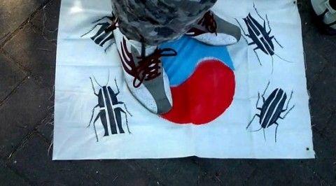 バ韓国の国旗はゴキブリ未満の価値