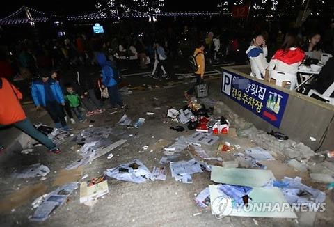 韓国では祭りの後にこんな状態となります
