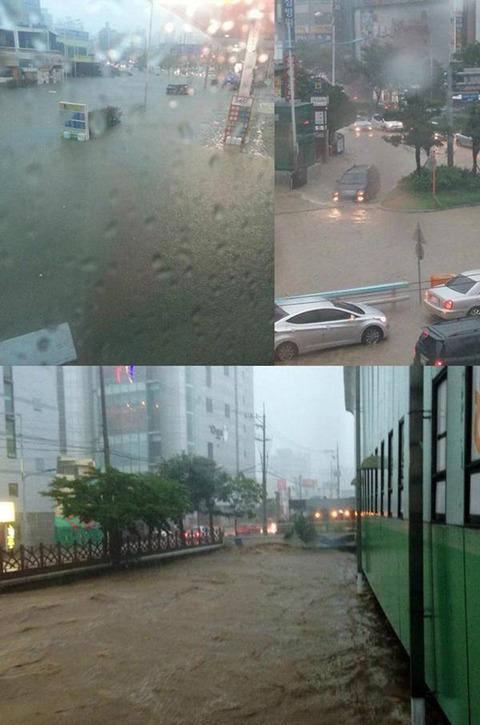 水没する釜山の街www