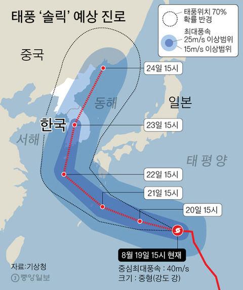 朝鮮半島を直撃する台風19号