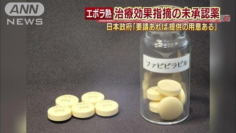 エボラ出血熱の治療薬アビガン