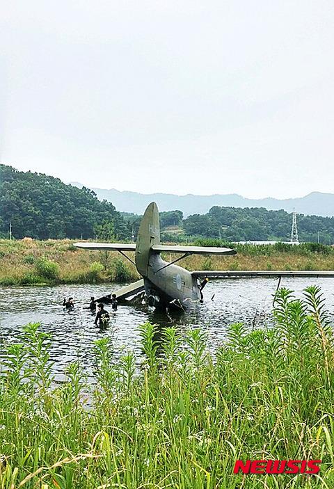 バ韓国空軍の訓練用飛行機が墜落