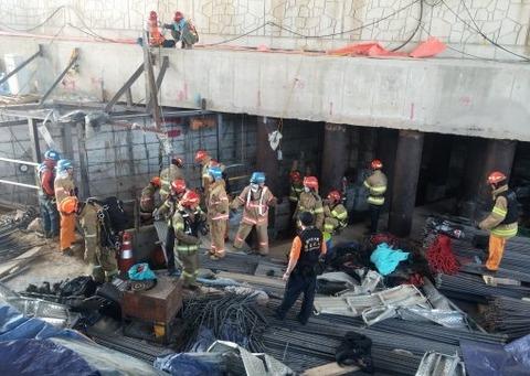 爆発のあった地下鉄工事現場