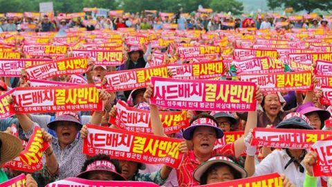 THAAD配備に反対するバ韓国の害獣ども