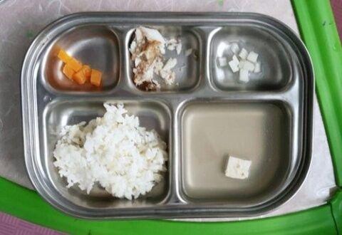 バ韓国の給食。右下の欠片はは豆腐wwww