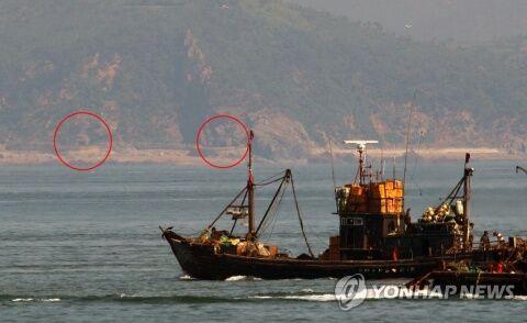 バ韓国に向けられた北朝鮮の砲台