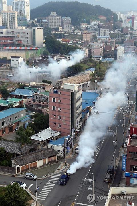 煙に包まれる釜山の街wwww