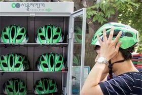 バ韓国で貸し出し用のヘルメットの盗難が続く