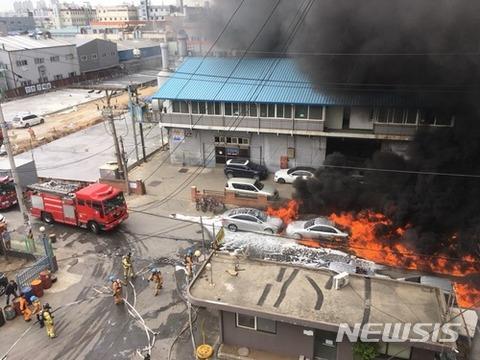 バ韓国の化学工場で火災