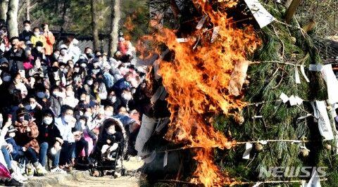大邱コロナの模型を燃やすバ韓国のイベント