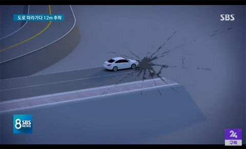 進入禁止のバリケードを撤去して事故発生。さすがバ韓国!!