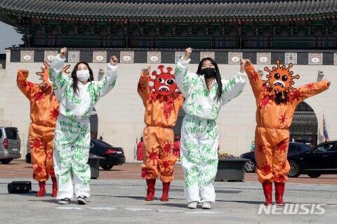 バ韓国ソウルで行われた大邱コロナ予防イベント
