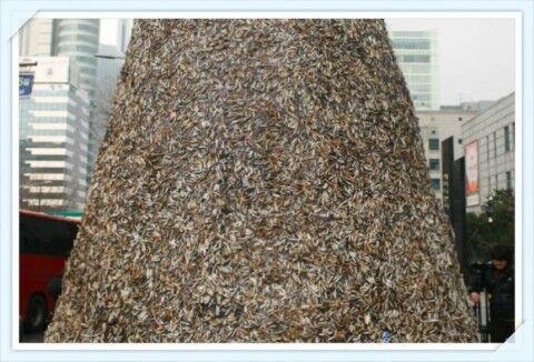 バ韓国に登場した吸い殻ツリー