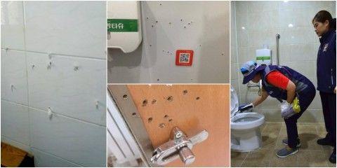 バ韓国の公衆トイレは盗撮用の穴だらけ
