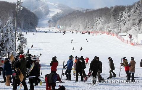 地面がカッチカチの平昌のスキー場