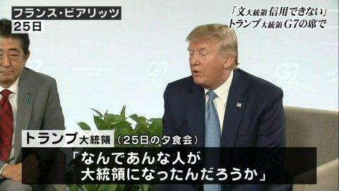 バ韓国文大統領を軽蔑しているトランプ大統領