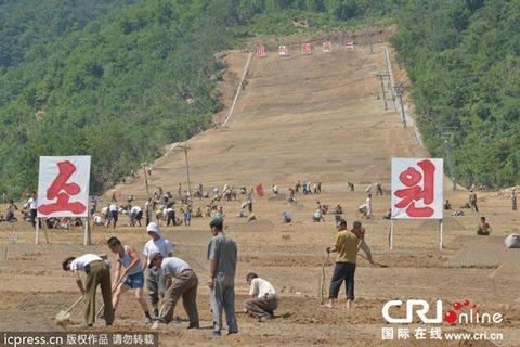 農作業中ではなく競技場を作る糞韓国塵ども