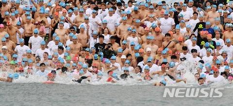 バ韓国塵の寒中水泳は海洋汚染!