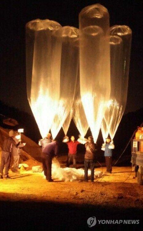 北朝鮮に向けて飛ばされたビラ入り風船