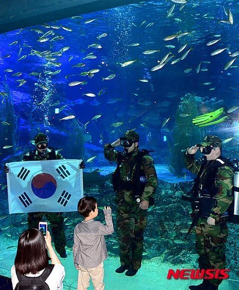 水槽の魚を虐待するバ韓国塵ども