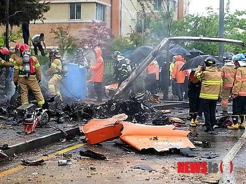 都市部でのヘリ落下はバ韓国の茶飯事