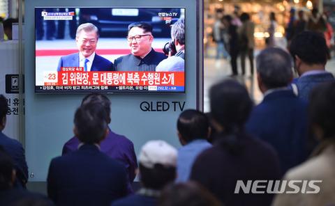 南北首脳会談を見つめるバ韓国塵ども
