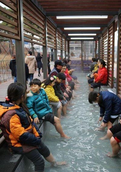 海水に足を浸す屑バ韓国塵ども