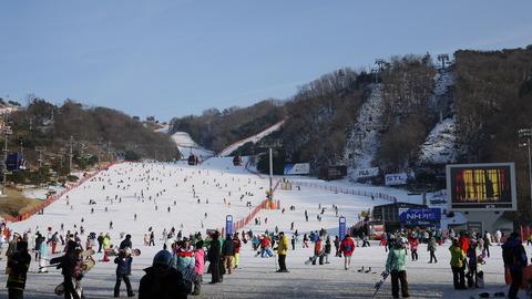 積雪が少なく、転んだだけで大けがする韓国スキー場