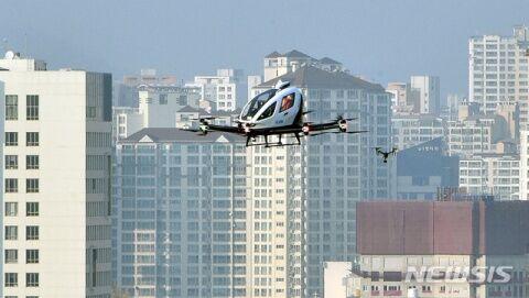 バ韓国の空を飛ぶ中国製のドローンタクシー