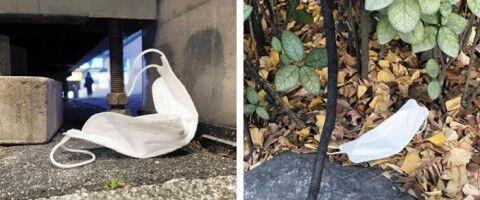 街中に使用済みマスクがポイ捨てされているバ韓国