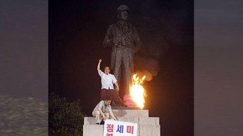 マッカーサー像に放火した屑バ韓国塵、3時間で釈放