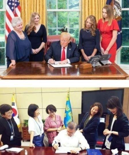 トランプの真似をするバ韓国の文大統領