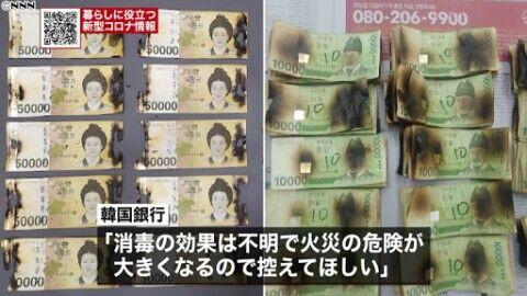 紙幣をレンジで燃やすバ韓国塵が急増中