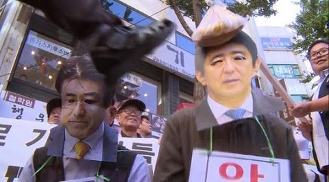 安倍首相と産経新聞前ソウル支局長をデモで糾弾するバ韓国塵ども