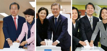 バ韓国新大統領となった文在寅(ムン・ジェイン)写真中央