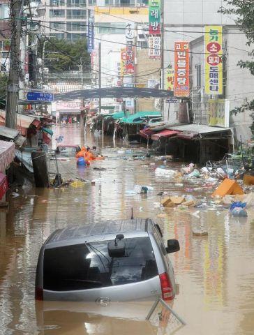 台風被害にあったバ韓国の蔚山市