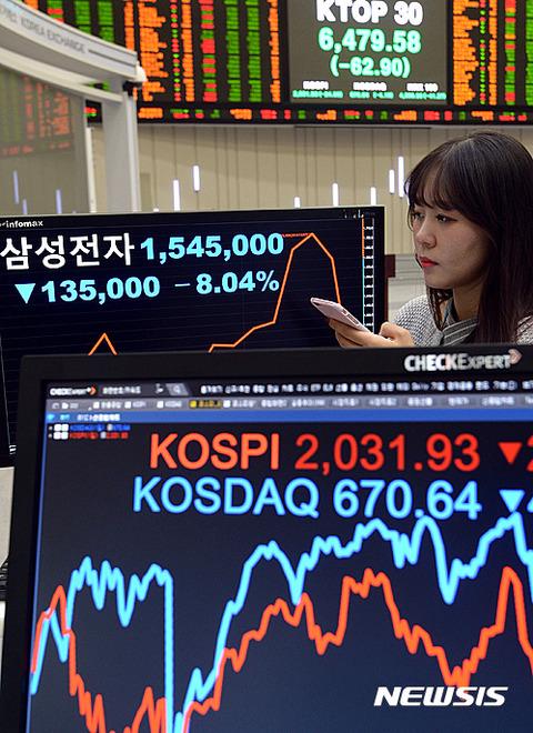 バ韓国・サムスン電子の株価が急落中