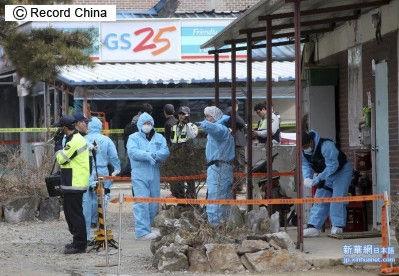 襲撃されたバ韓国のコンビニ