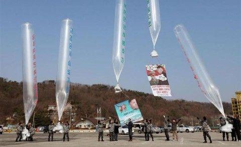 バ韓国の脱北団体によるビラ撒き
