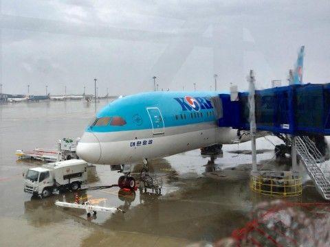 バ韓国塵が大韓航空機の窓ガラスを割る