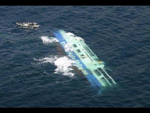 いまだ沈没中のセウォル号