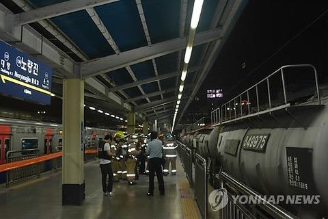 韓国の地下鉄で屑が感電死ww