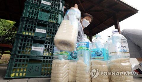 汚染米を海に流すバ韓国の脱北団体