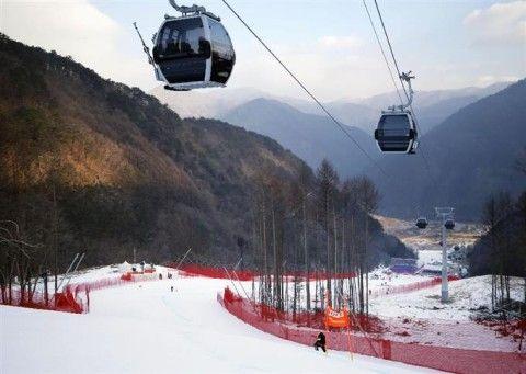 閉鎖されているバ韓国・平昌冬季五輪のアルペン競技場