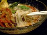 和氷山冷胡麻味噌 麺のアップ
