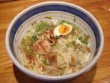 梅乃和え麺雑炊〆 冷たいスープ投入