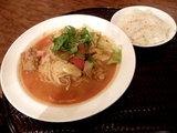 「チキン麺」の4辛 850円 + 「ミニライス」 無料