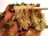 紅宝麺 〜完熟蕃茄冷やし麺〜 麺のアップ