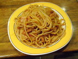 ベーコンとオニオンのアラビアータスパゲティ 560円