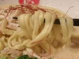 あさりクリーム平打麺 麺のアップ